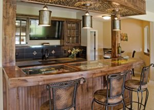 Wet bar with TV behind