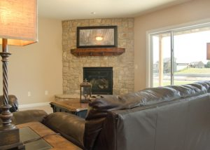 Stone fireplace for Kansas winters