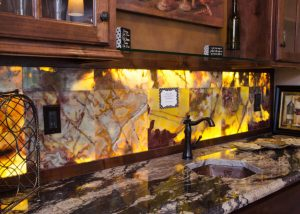 Onyx marble backlit with LED lighting