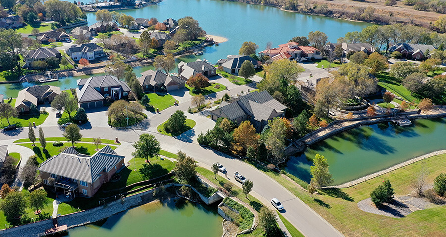 Aerial View of Luxury Homes with Private Docks